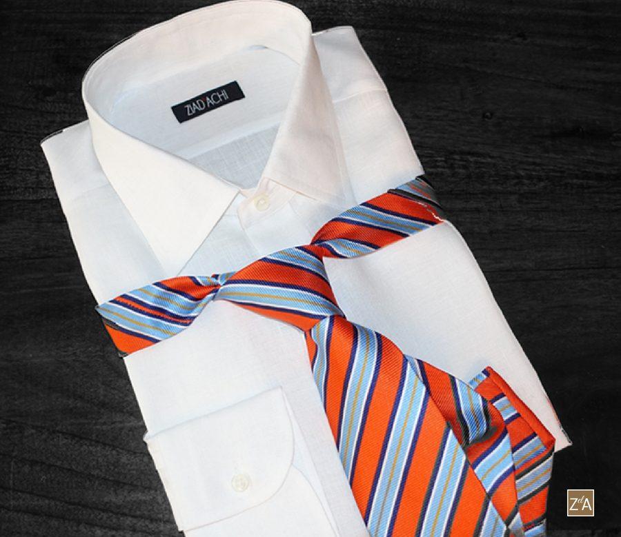 Sommermode Ziad El Achi Sommerhemd aus Leinen-Baumwollmischung geeignet als Businesshemd